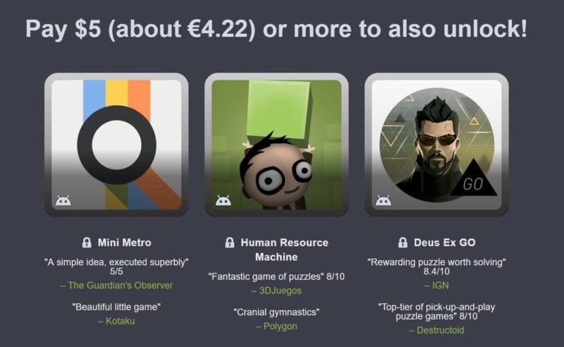 Humble Mobile Bundle: Puzzles 2e palier : Mini Metro, Human Resource Machine, Deus Ex Go