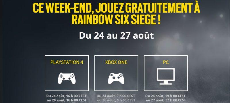 Rainbow Six Siege weekend gratuit