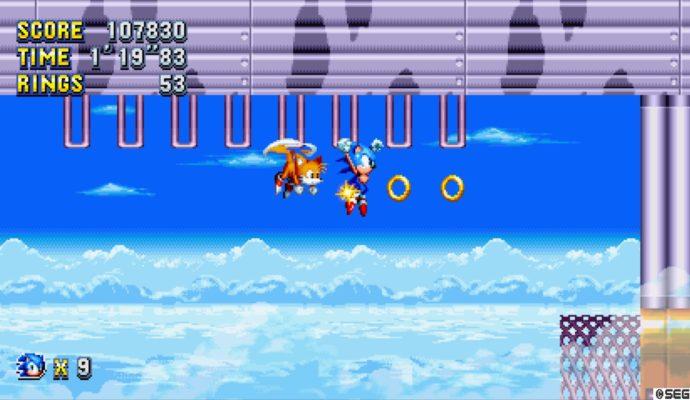 Sonic Mania Tails et Sonic récupèrent des anneaux