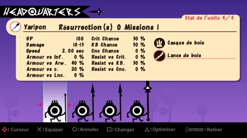 Test Patapon Remastered - Caractéristiques des personnages