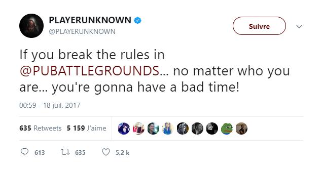 Tweet PlayerUnknown's Battlegrounds