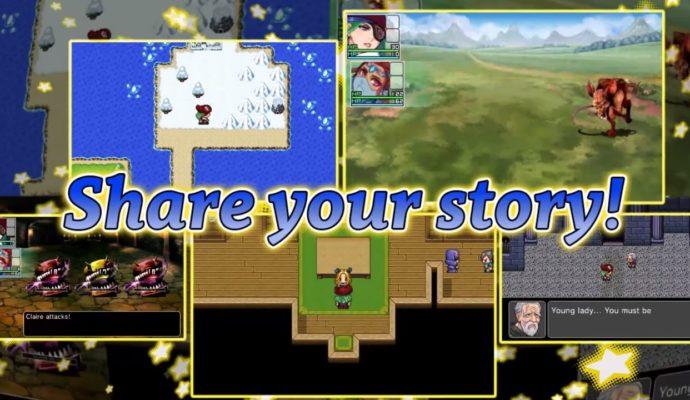 """l'une des images du trailer de RPG Maker Fes avec écrit """"Partage ton Histoire"""" en anglais"""
