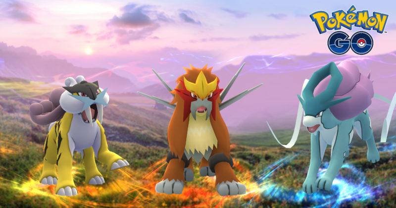 Pokémon Go Pokémon légendaires Raikou Sucuine Entei