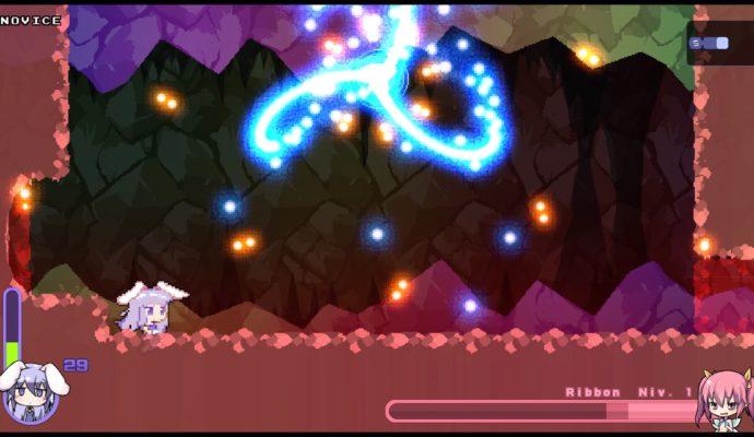 Test Rabi-Ribi - combat de boss dans la caverne aux cristaux