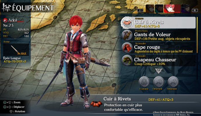 Test Ys VIII: Lacrimosa of Dana - Equipement Adol