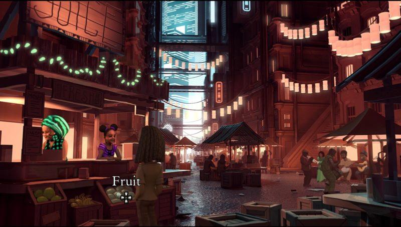 The Journey Down: Chapter 3 étalage de fruits dans le Sankara Square