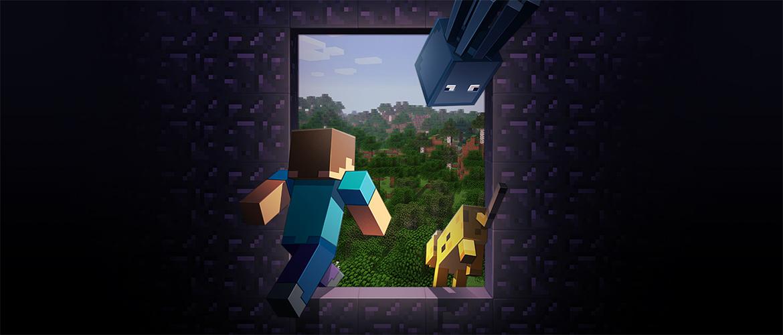 Minecraft personnage sortent vers un Realm