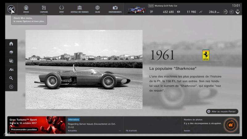 Gran Turismo Sport Démo - Menu principal