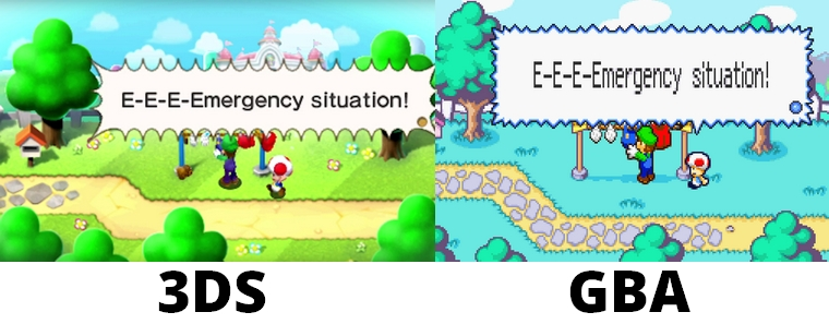 Mario & Luigi : Superstar Saga + Les sbires de Bowser comparaison 3DS GBA