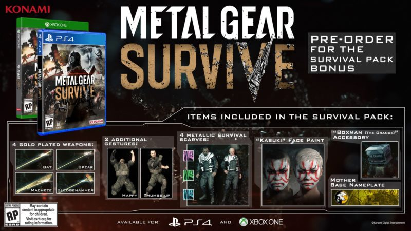 Metal Gear Survive bonus d'arnaqu... euh bonus cool