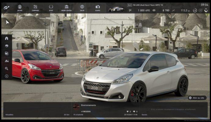 Test Gran Turismo Sport - écran accueil