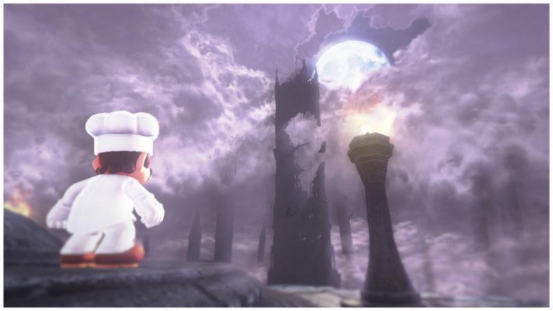 test Super Mario Odyssey - Mario devant une tour sombre