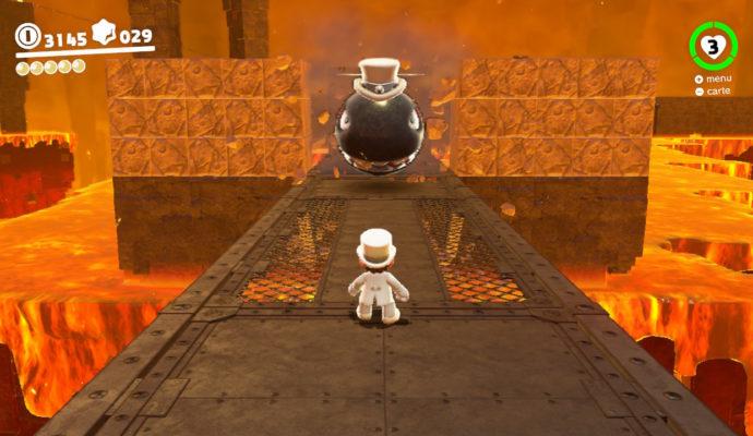 Test Super Mario Odyssey - Mario face à un missile