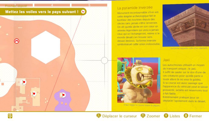 Test Super Mario Odyssey - Interface et description de la carte