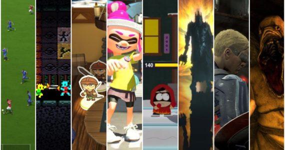 Et toi, à quoi tu joues collage : Rezrof, FIFA 18, Splatoon 2, South Park : L'annale du destin, Le Seigneur des Anneaux : L'ombre de la Guerre, Amnesia, Fallout 4, Eggnog