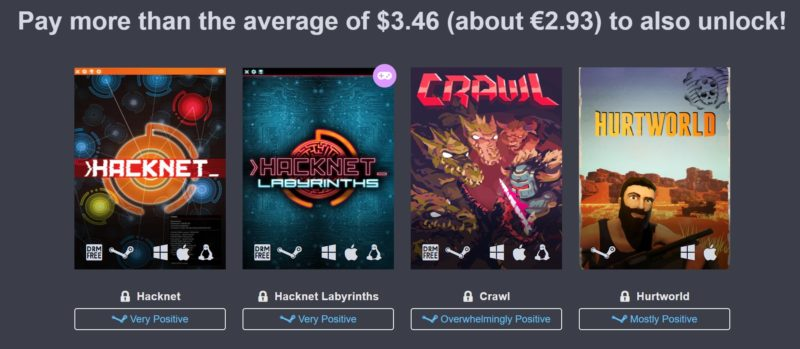 humble down under bundle plaier 2 hacknet crawl huntworld
