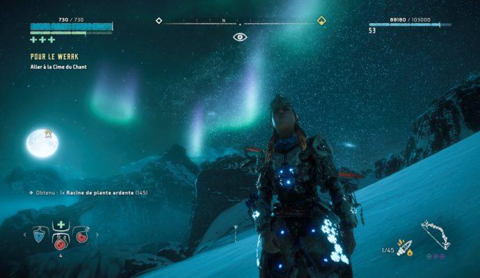 Horizon Zero Dawn: The Frozen Wilds - nuit aurore