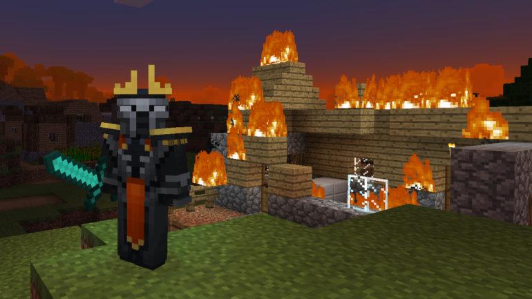 Minecraft burning house