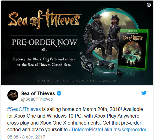 Sea of Thieves tweet