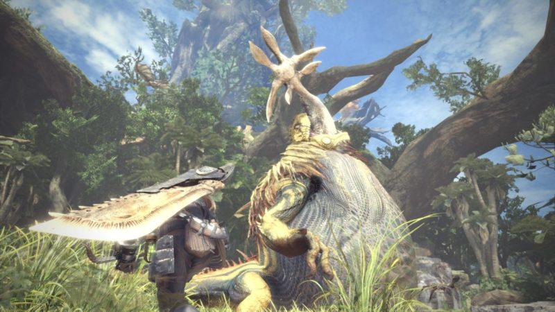 Monster Hunter: World - Le grand Jaggras mange un Aptonoth