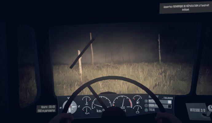 Test Spintires: MudRunner - Vue cockpit de nuit