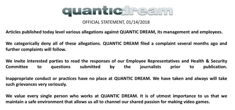 communiqué officiel quantic Dream