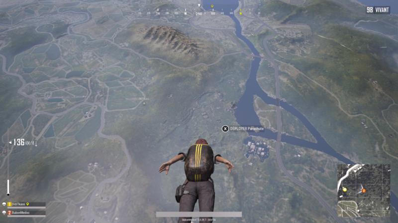 PlayerUnknown's Battlegrounds saut en parachute