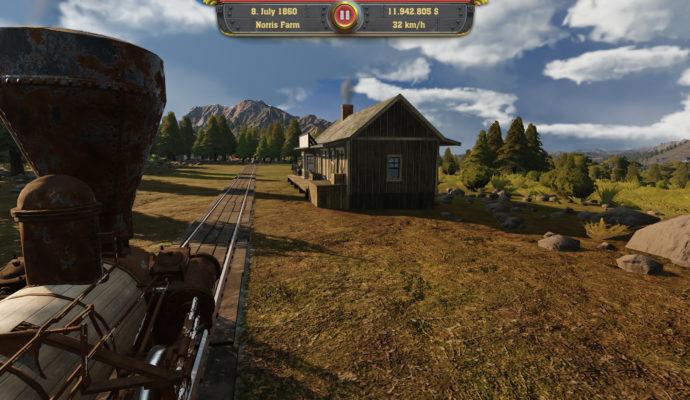 Railway Empire vue du train, une jolie maison