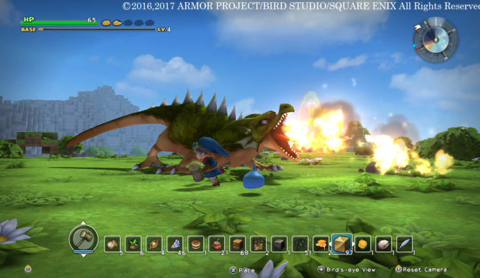 Dragon Quest Builder un boss dragon crachant du feu