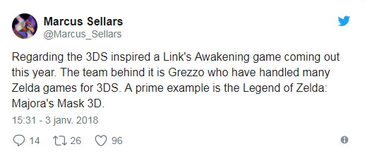 The Legend of Zelda Link's Awakening Marcus tweet