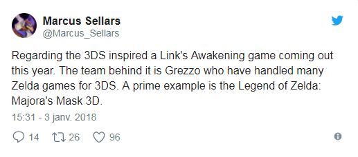The Legend of Zelda Link's Awakening Marcus tweet