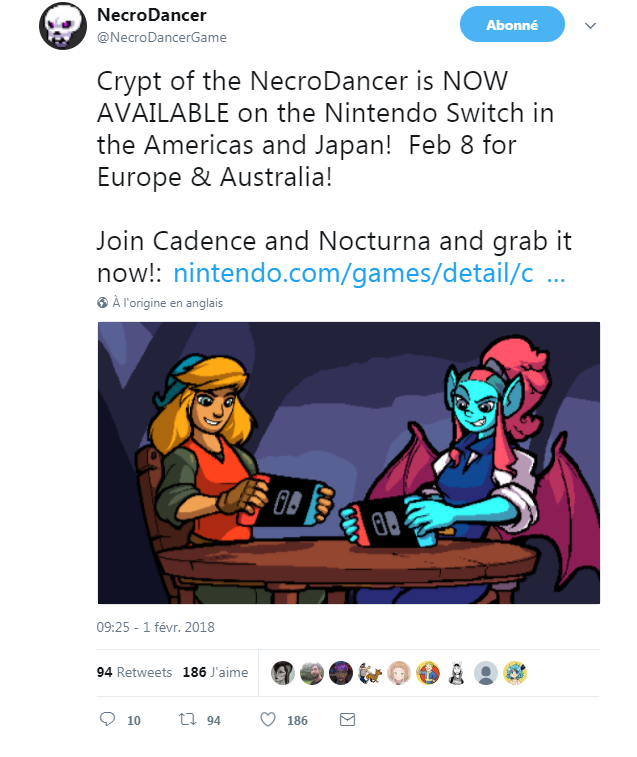 Crypt of the Necrodancer - tweet