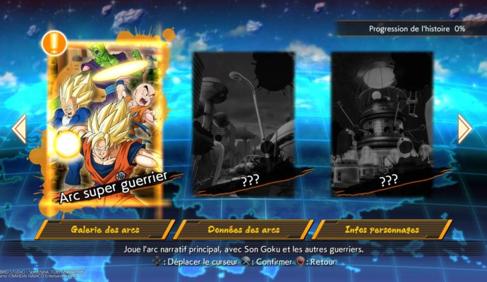 Dragon Ball FighterZ trois arcs du story mode