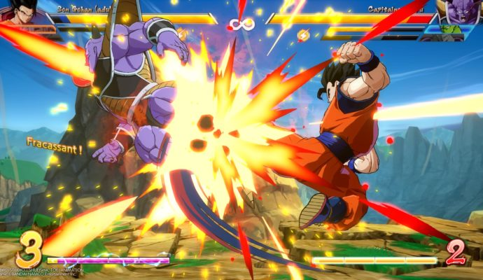 Dragon Ball FighterZ Gohan qui brutalise Ginyu