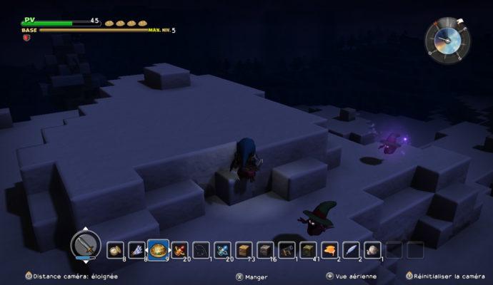 Dragon Quest Builders - des yeux brillent dans la nuit