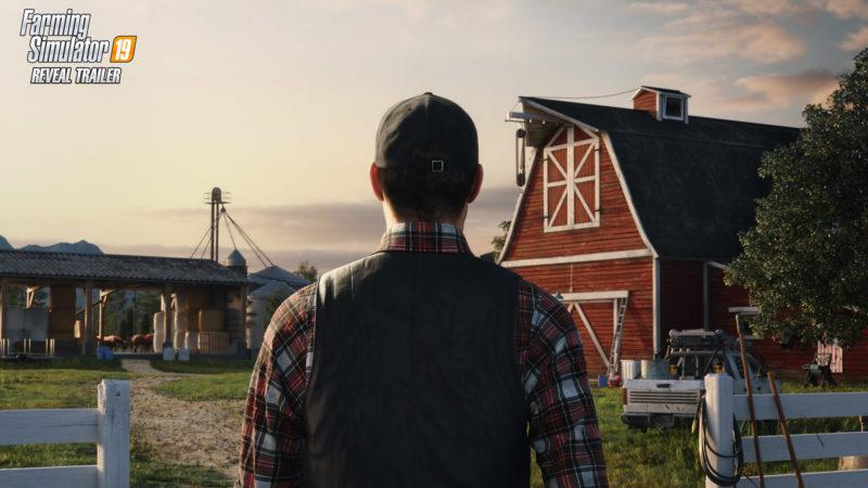 Un homme regardant son empire agricole dans Farming Simulator 19