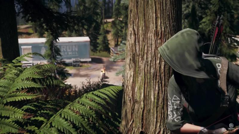 Far Cry 5 personne cachée derrière un arbre