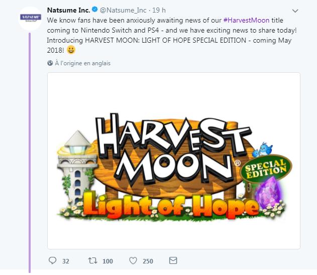 Harvest Moon Light of Hope - Sortie en Mai