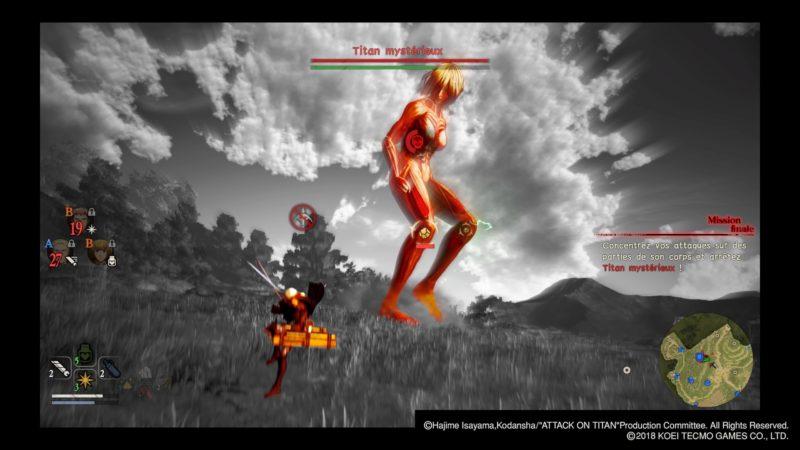 Attack on Titan 2 combat contre Titan féminin