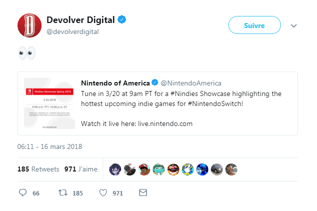 Nindies Showcase - Devolver retweet