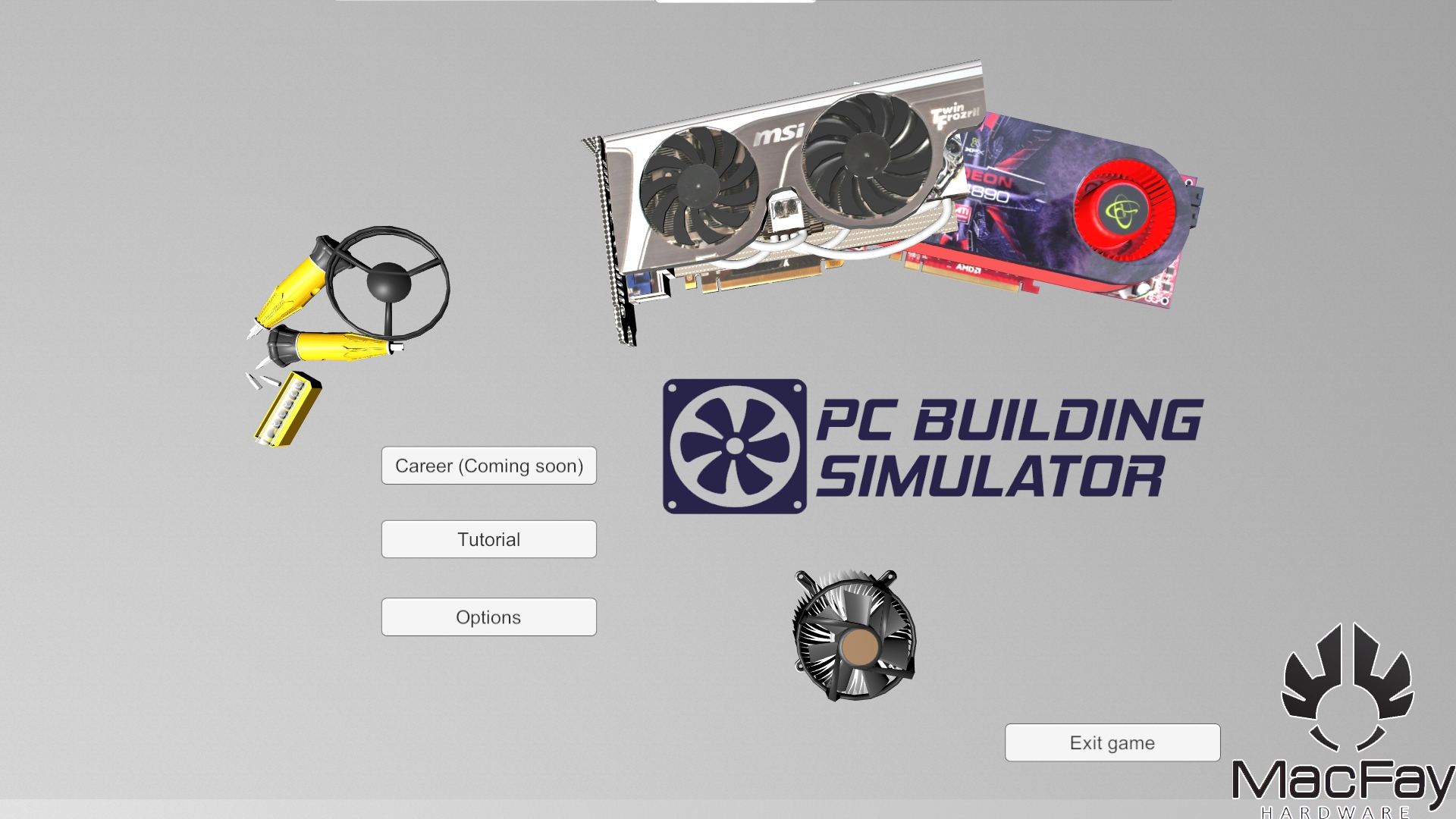 PC Building Simulator - menu