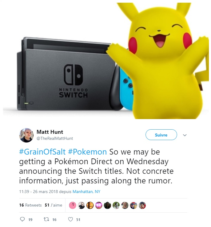 Pokémon Switch - Tweet rumeur