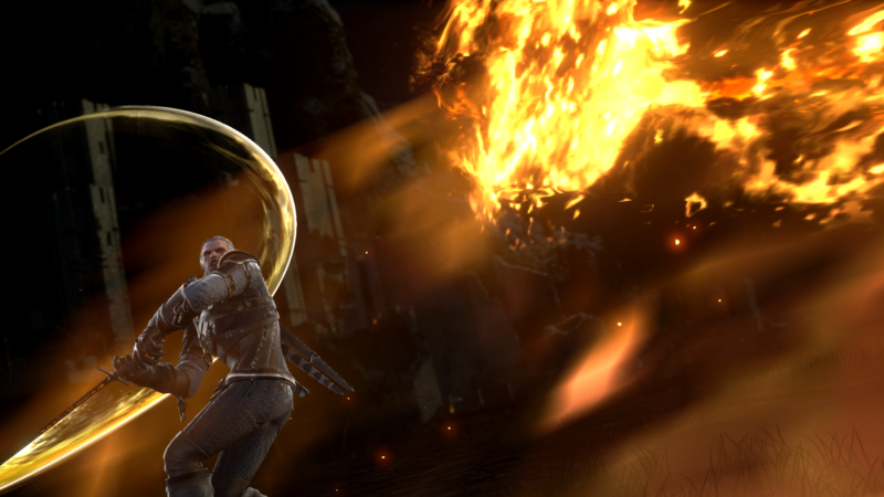 SoulCalibur VI Geralt de Riv attaque un monstre de feu