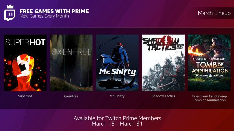 Amazon Prime et Twitch Prime offrent des jeux