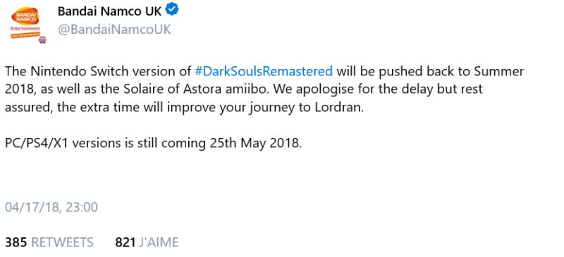 Dark Souls Remastered - Rapport sur le report