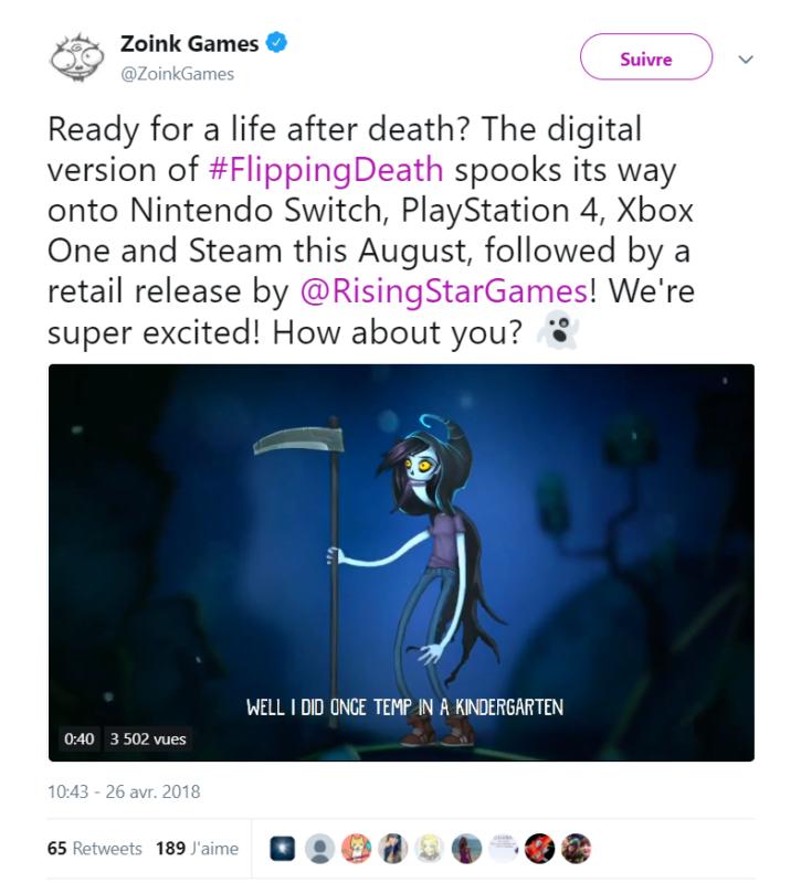 Flipping Death - Tweet annonce sortie