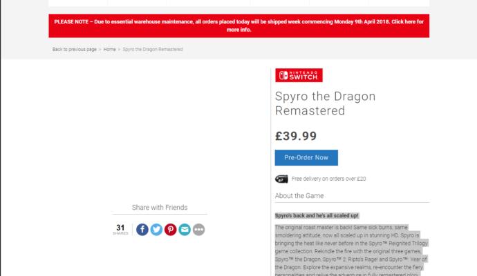 Spyro the Dragon Remastered - leak nintendo switch