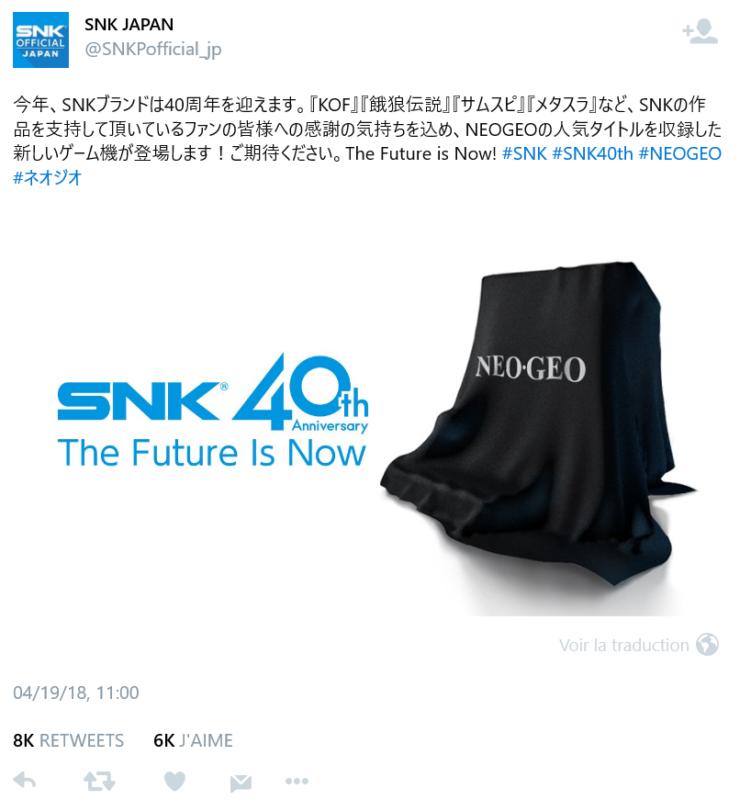 Super Nintendo Mini - SNK s'y met - Tweet