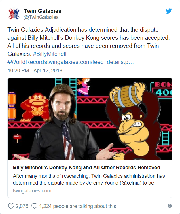 Tweet Twin Galaxies - Billy Mitchell revoked