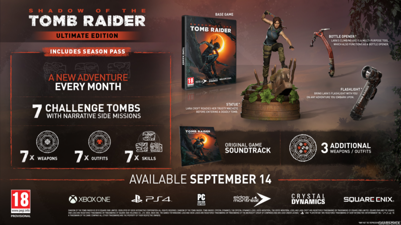 shadow of the tomb raider contenu édition collector